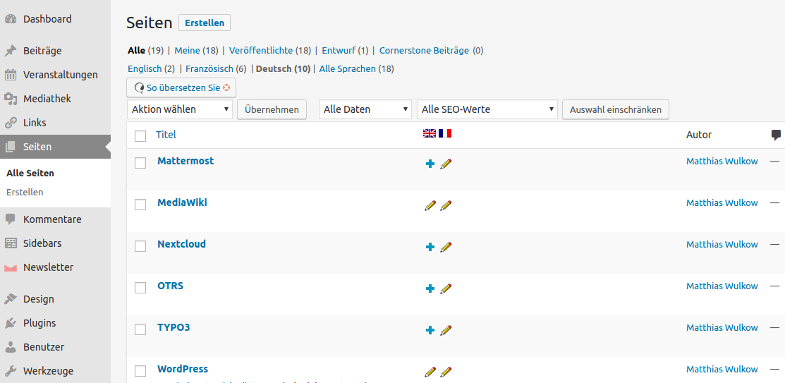 Seiten mit WPML duplizieren und übersetzen