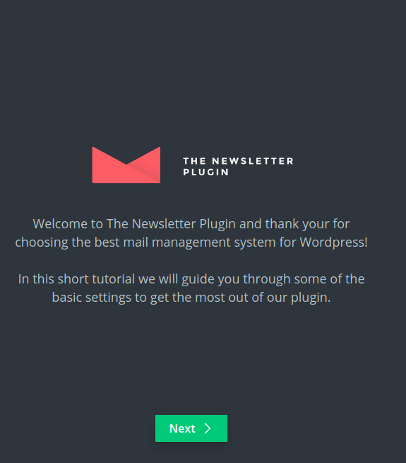 Newsletter Plugin - Wizard Step 1