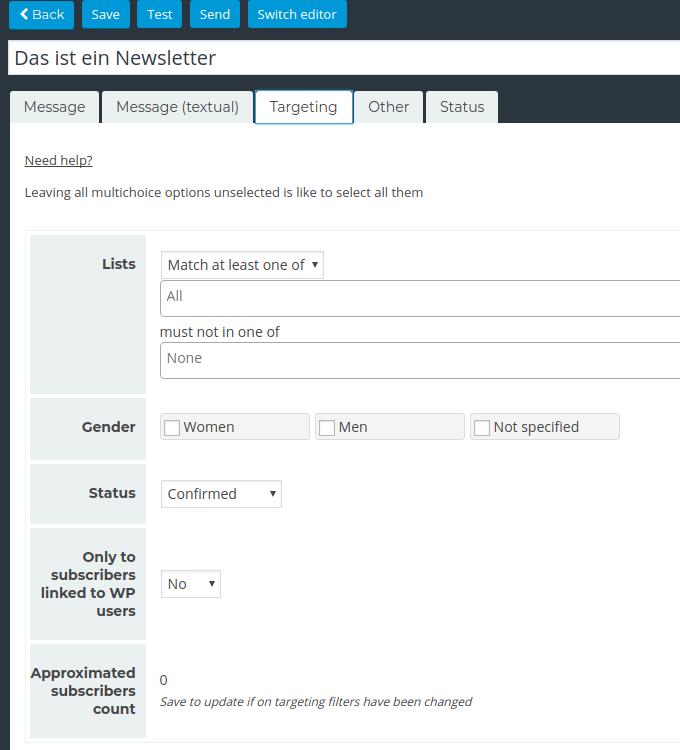 Newsletter Plugin - New Mailing - Recipients