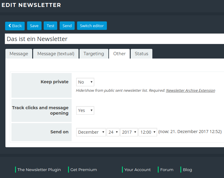 Newsletter Plugin - New Mailing - Sending Settings