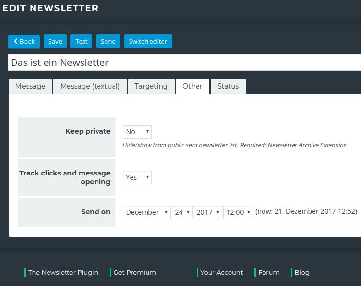Newsletter Plugin - New Mailing - Sending Settings
