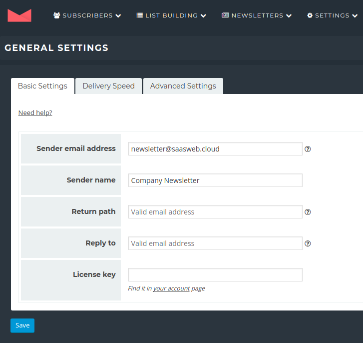 Newsletter Plugin - Settings - Sender
