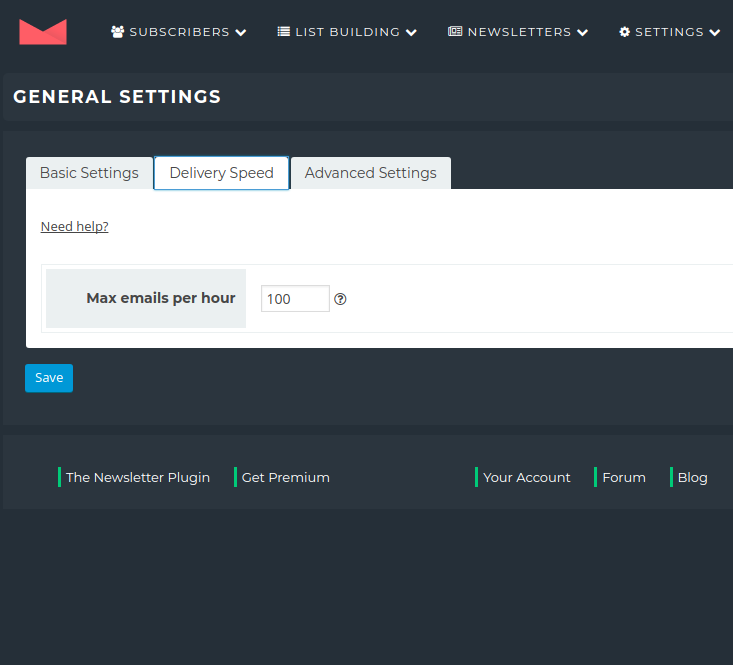 Newsletter Plugin - Settings - Delivery Speed