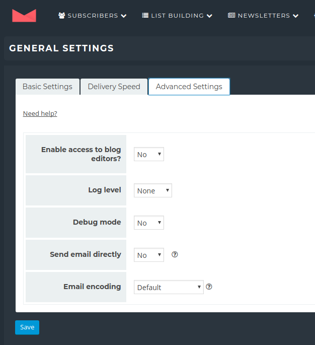 Newsletter Plugin - Settings - Advanced