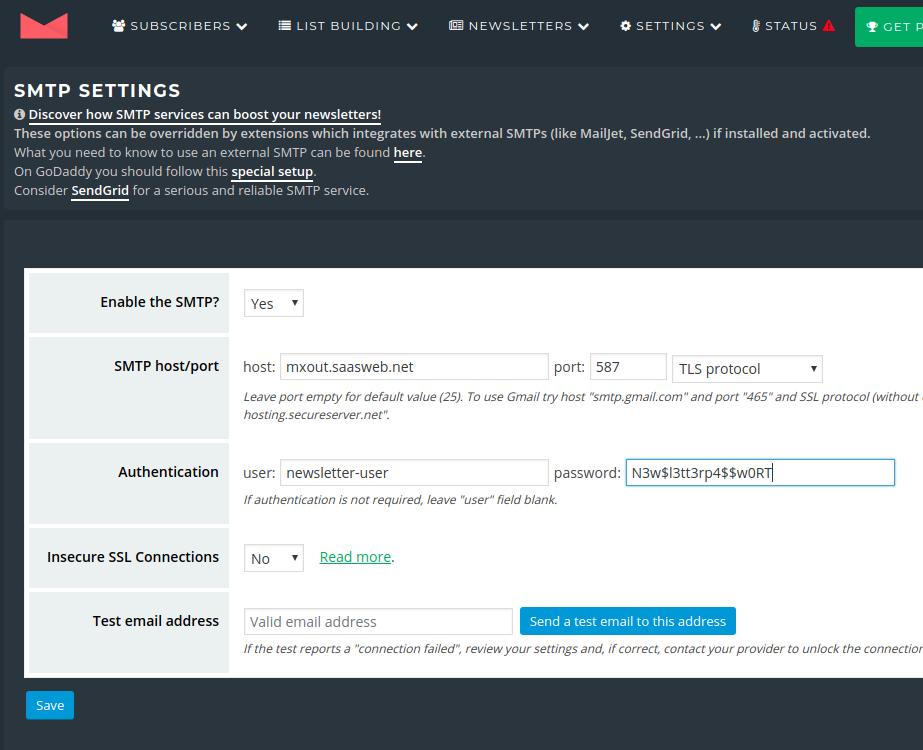 Newsletter Plugin - Settings - SMTP