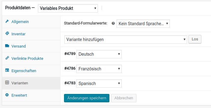 Sprachen als Produktvarianten