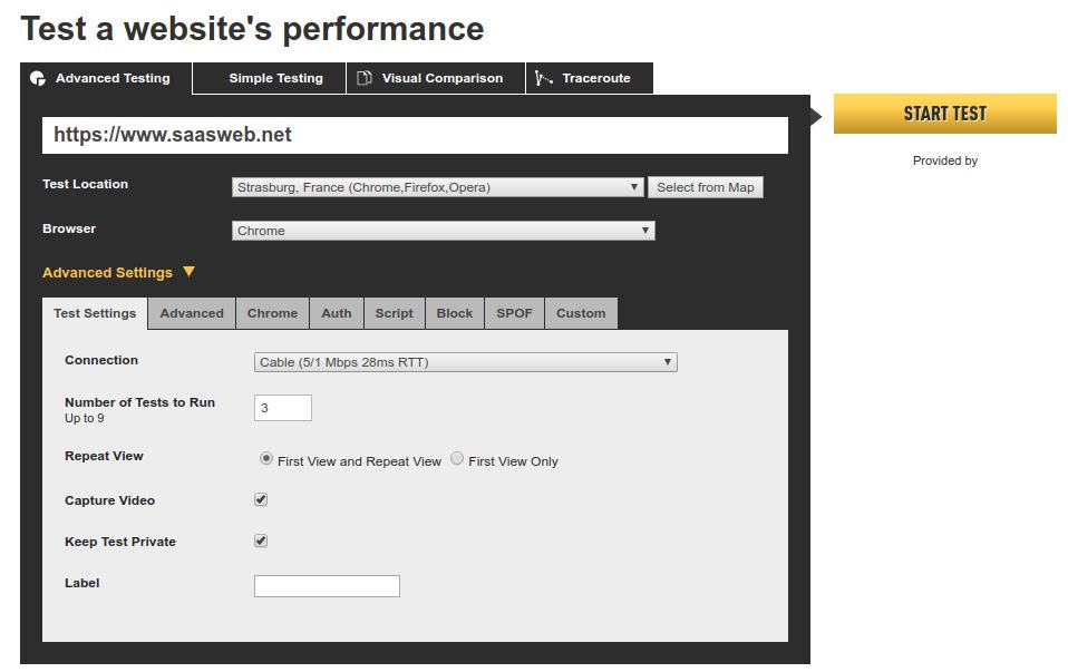 WebPageTest - Start