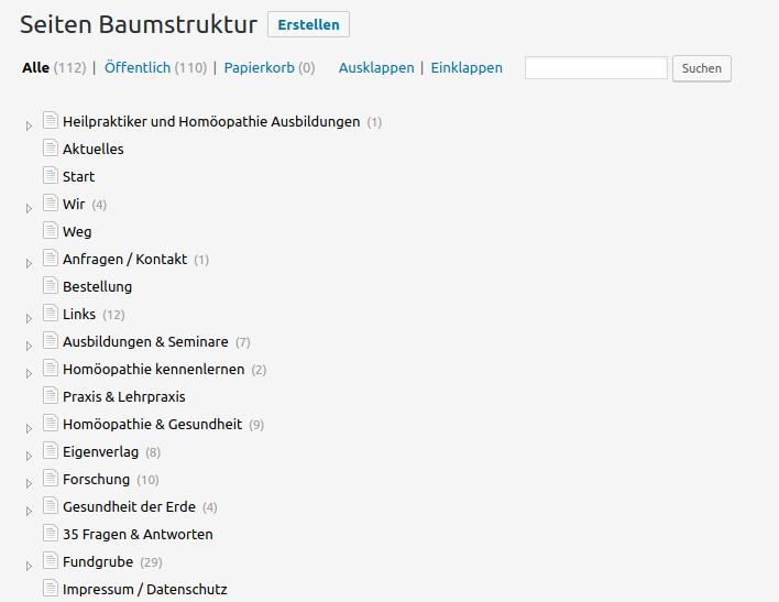 Seitenansicht mit CMS Tree Page View (arscurandi.de)