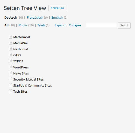 CMS Tree Page View mit WPML