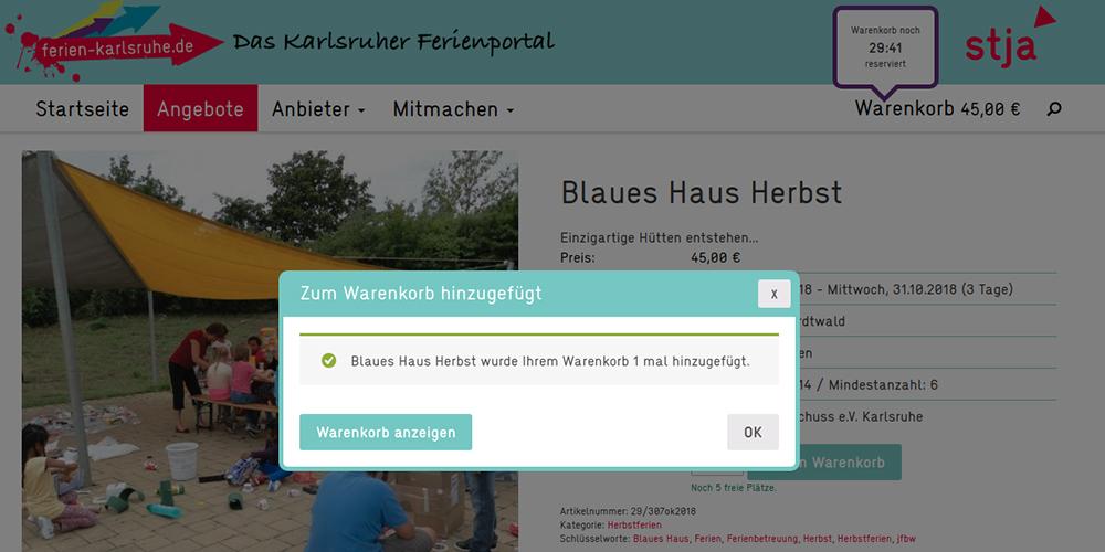 Ferien Karlsruhe: Warenkorb Zeitlimit